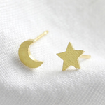 Lisa Angel Mismatched Star and Moon Stud Earrings in Gold
