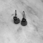 Lene Lundberg Round Black Cat with White Spots Earrings