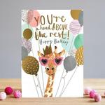 Louise Tiler Giraffe & Balloons Birthday Card - You're a head above the rest