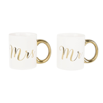 RJB Stone Mr & Mrs Gold Mug Assorted