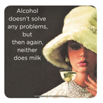 Retro Humour Coaster Single - Alcohol Doesn't Solve Problem