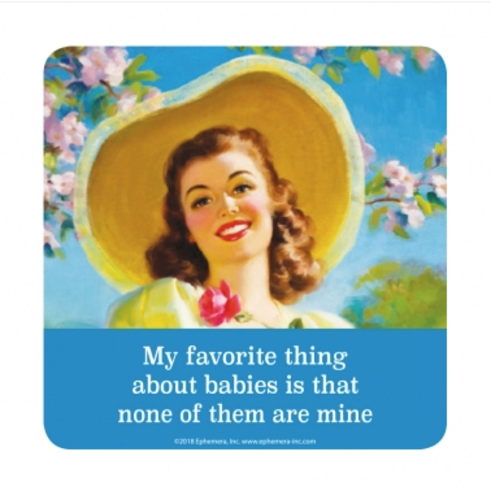 Retro Humour Coaster Single - My Favourite Thing About Babies