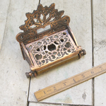 IRON RANGE Victorian Toilet Roll Holder Antique Copper With Lid