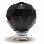 Pushka Black Crystal Cut Faceted Glass Knob (Medium)