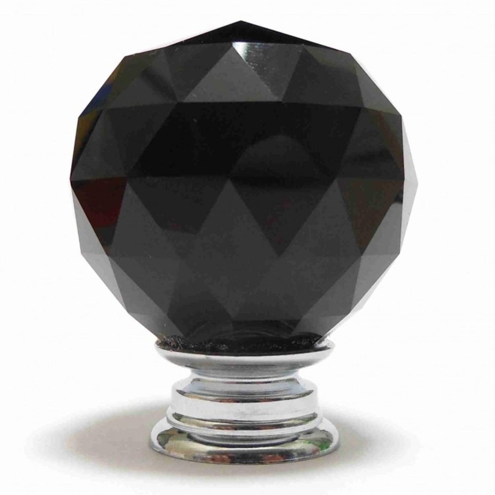 PKA Black Crystal Cut Faceted Glass Knob (Medium)