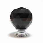 Pushka Crystal Faceted Cut Glass Knob Black (Small)
