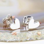 Lisa Angel Shiny Silver Heart Stud Earrings