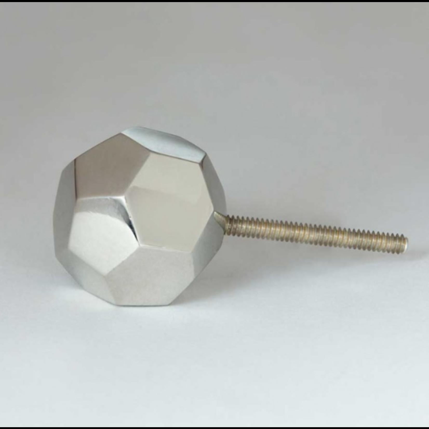 BoDuck Faceted Irregular Octagonal Silver Knob