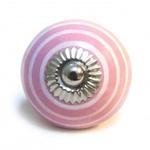 Pushka Pink Knob &  Thin White Stripe Ceramic Cupboard Pin Knob - Screw Length - 28mm