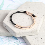 Lisa Angel Curved Metal and Black Leather Bracelet in Rose Gold S/M