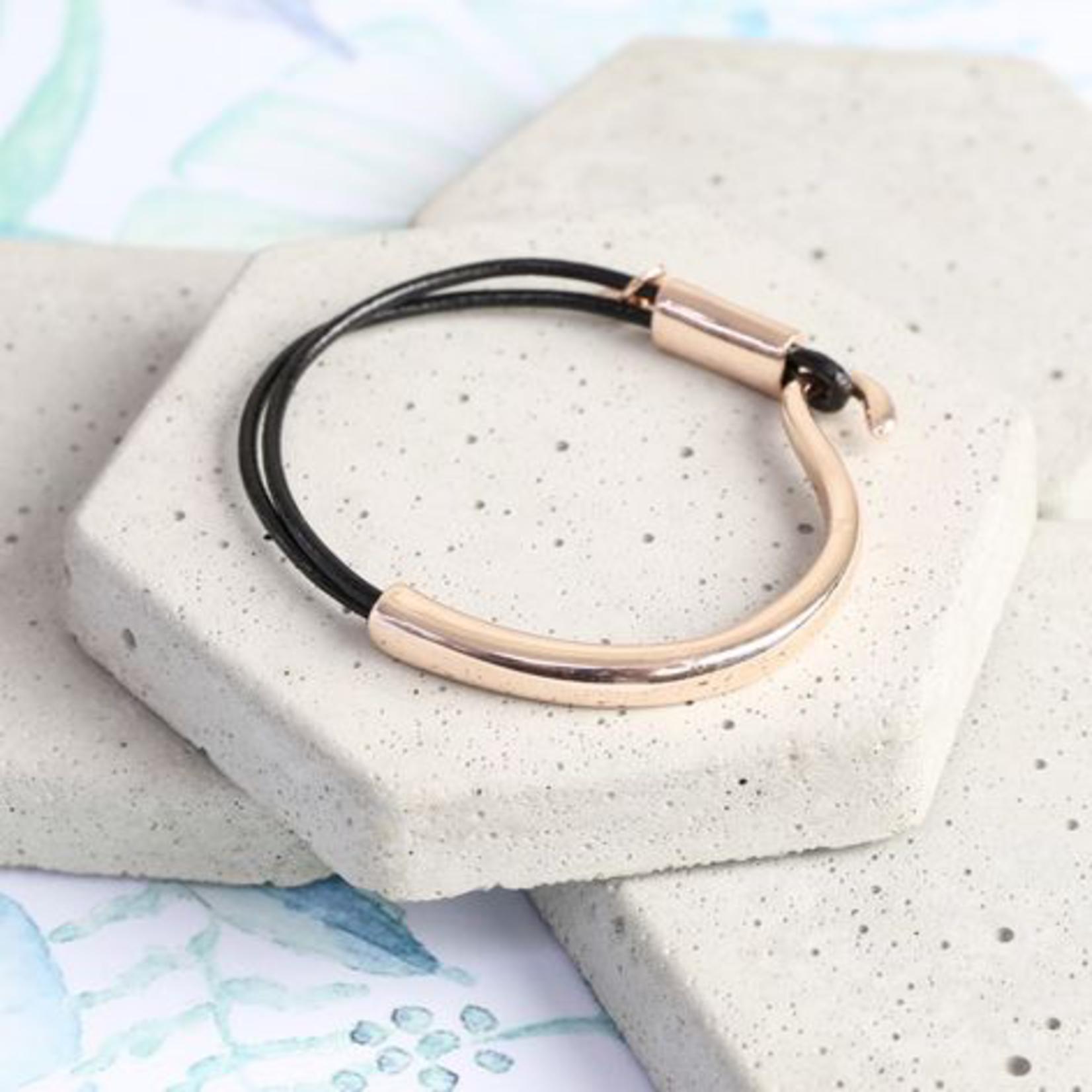 Lisa Angel Curved Metal and Black Leather Bracelet in Rose Gold S/M