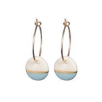 One & Eight Porcelain Disc Earrings - Bantham Blue Dipped on Gold Hoops