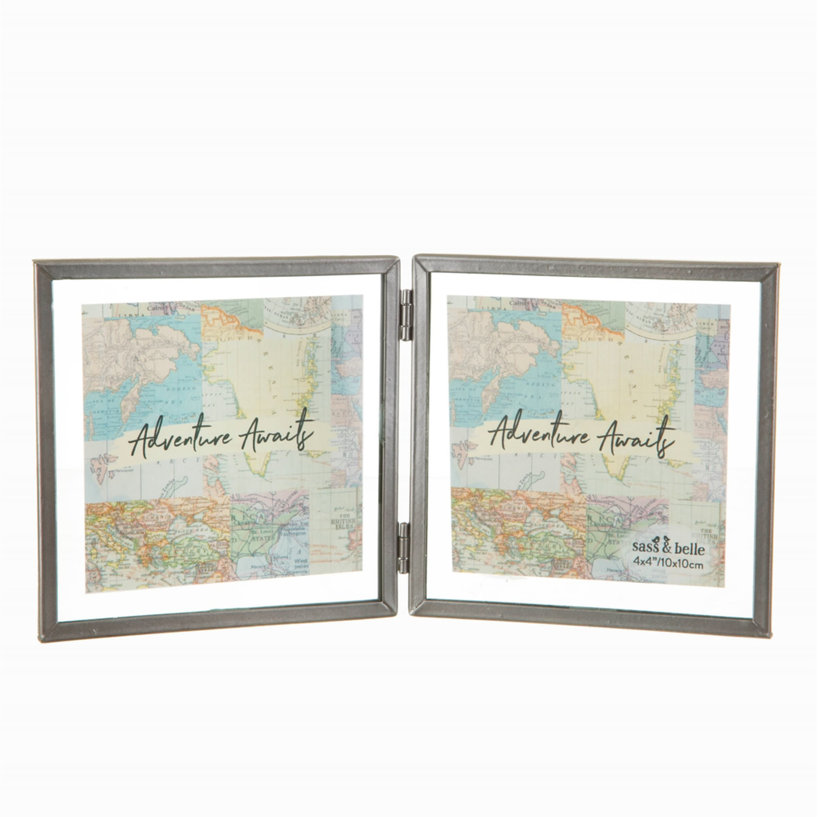 Sass and Belle Graphite Zinc Double Photo Frame