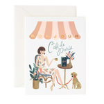 Rifle Rifle Bonjour Cafe Card with rose gold foil