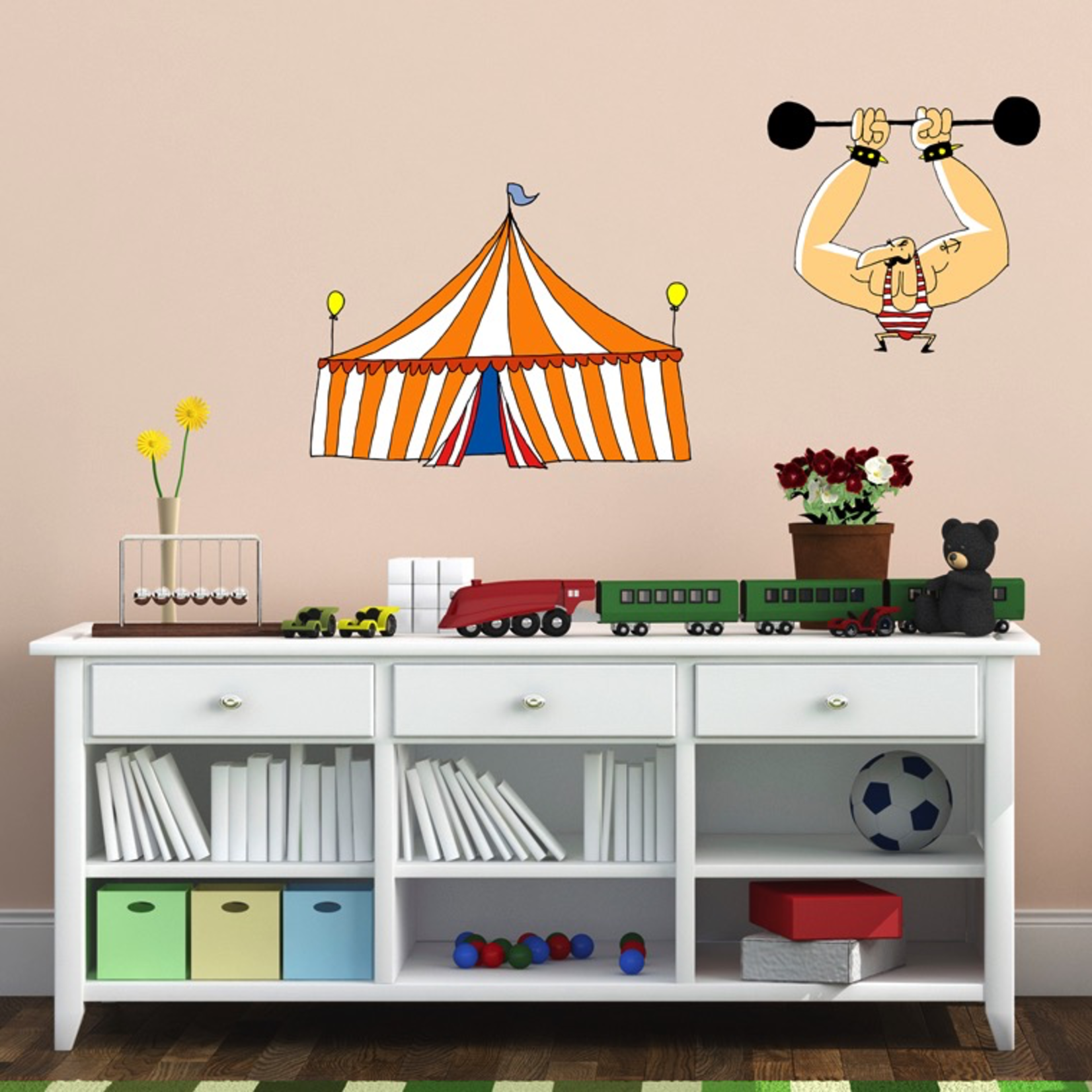 Chispum Circus Tent and Strongman Wall Sticker 28X31CM