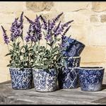Grand Interiors Old Style Dutch Pot Blue 6 Asst Designs 14x14x12cm