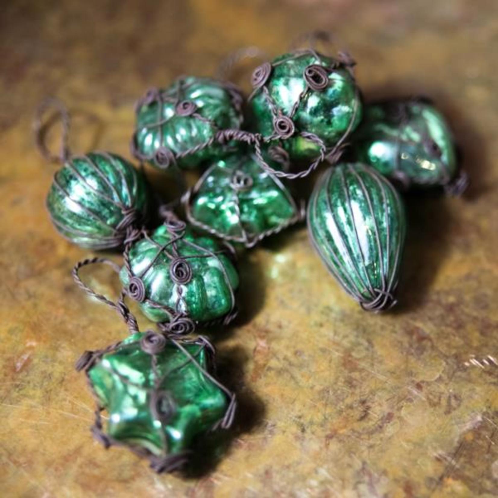 Nkuku Akuna Glass Baubles in Green/Rust