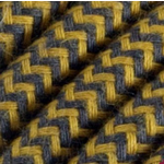 CCIT Per Metre - Round electric cable Flex Mustard & BLUEY/grey Chevron Flex: : 0.75cm Diameter 3 Core