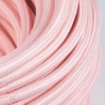 CCIT Per Metre - Round Pastel Baby Pink Cotton Electric Cable 3 Core Flex: : 0.75cm diameter.