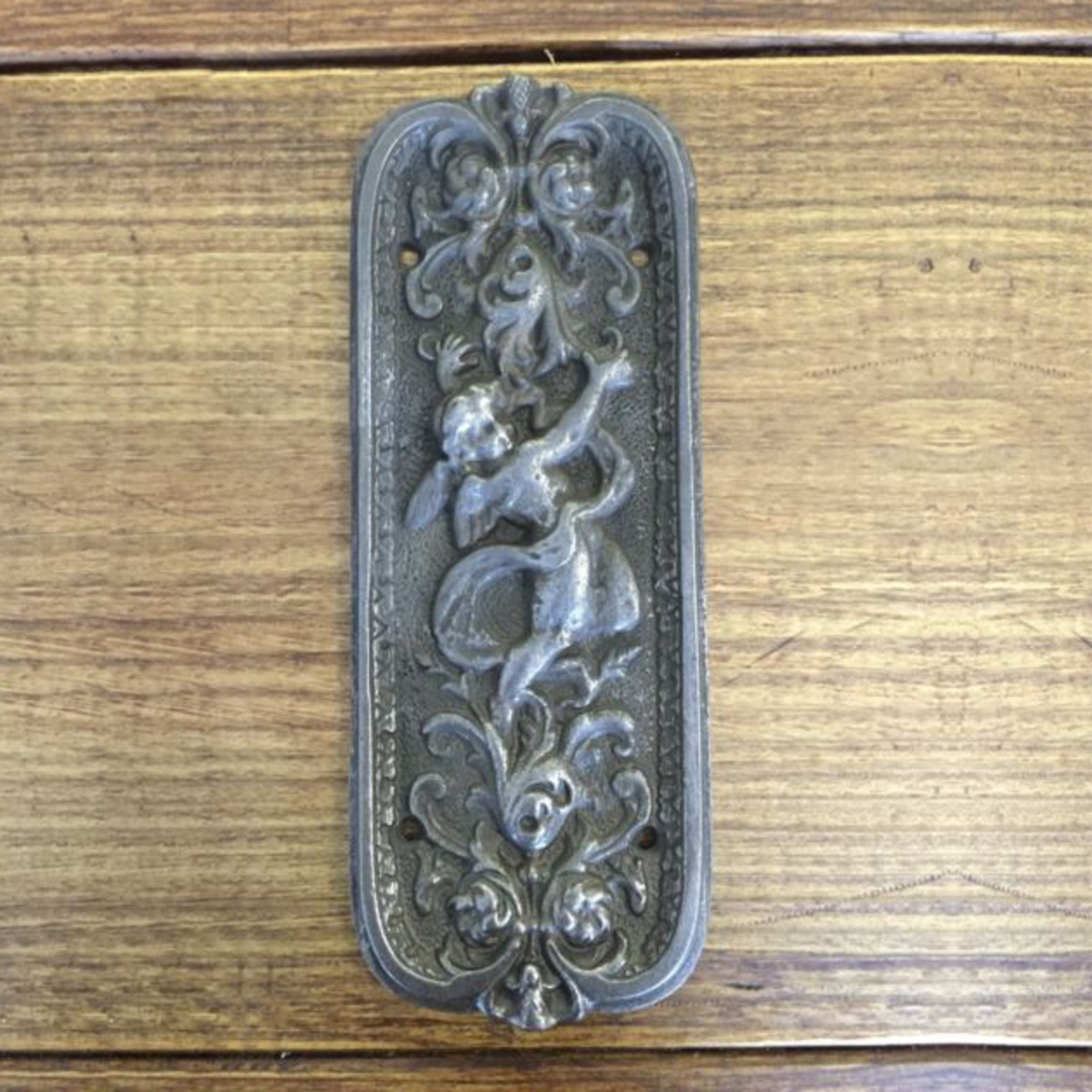 IRON RANGE Door Push Finger Plate ' CHERUB ' Ornate Ant Iron 200mm x 78mm