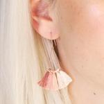 Lisa Angel Pink and Peach Tassel earrings in Rose Gold
