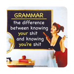 Retro Humour Coaster Single - Grammar