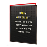 Brainbox Candy Anniversary Annoy You Card