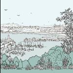 Homebird Alex Anderson Scarborough Harbour Illustration Square Card