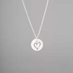 """One & Eight Porcelain Disc Necklace - Silver Heart on Silver 16-18"""" Chain"""
