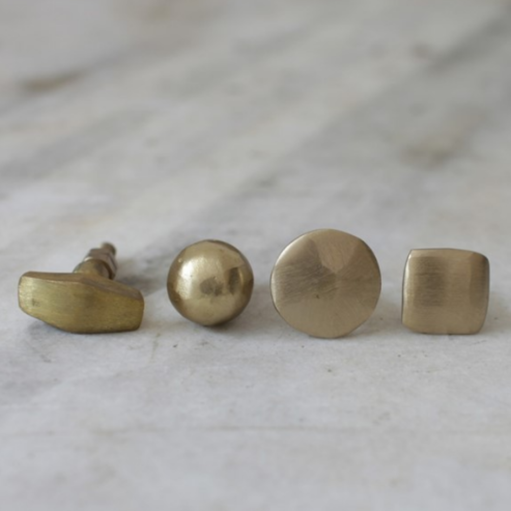 Nkuku Aso Brass Knob - Flat Round