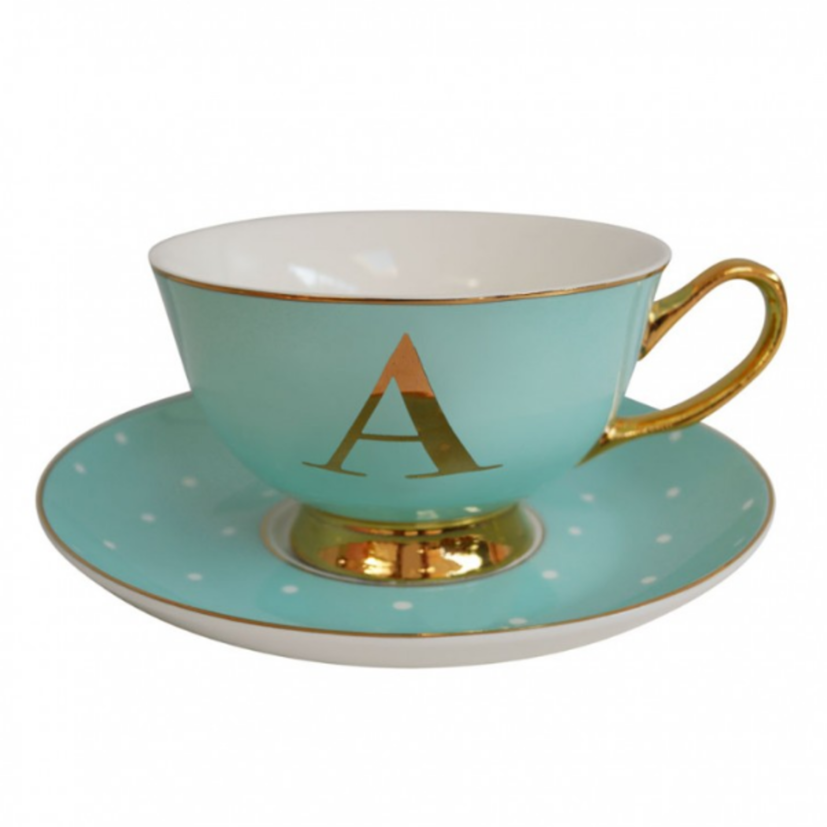 BoDuck Alphabet Spotty Teacup and Saucer Letter A Gold/Mint