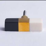 Bomb Duck Block Bar Knob Black/Brass/White Resin