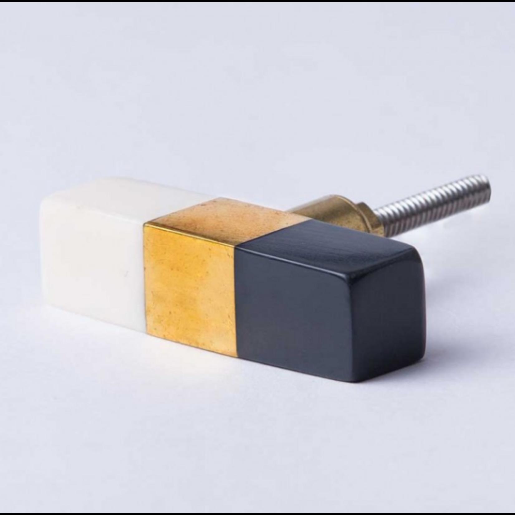 BoDuck Block Bar Knob Black/Brass/White Resin