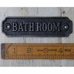 IRON RANGE Plaque 'Bathroom' Antique Cast Iron Sign 112mm x 33mm