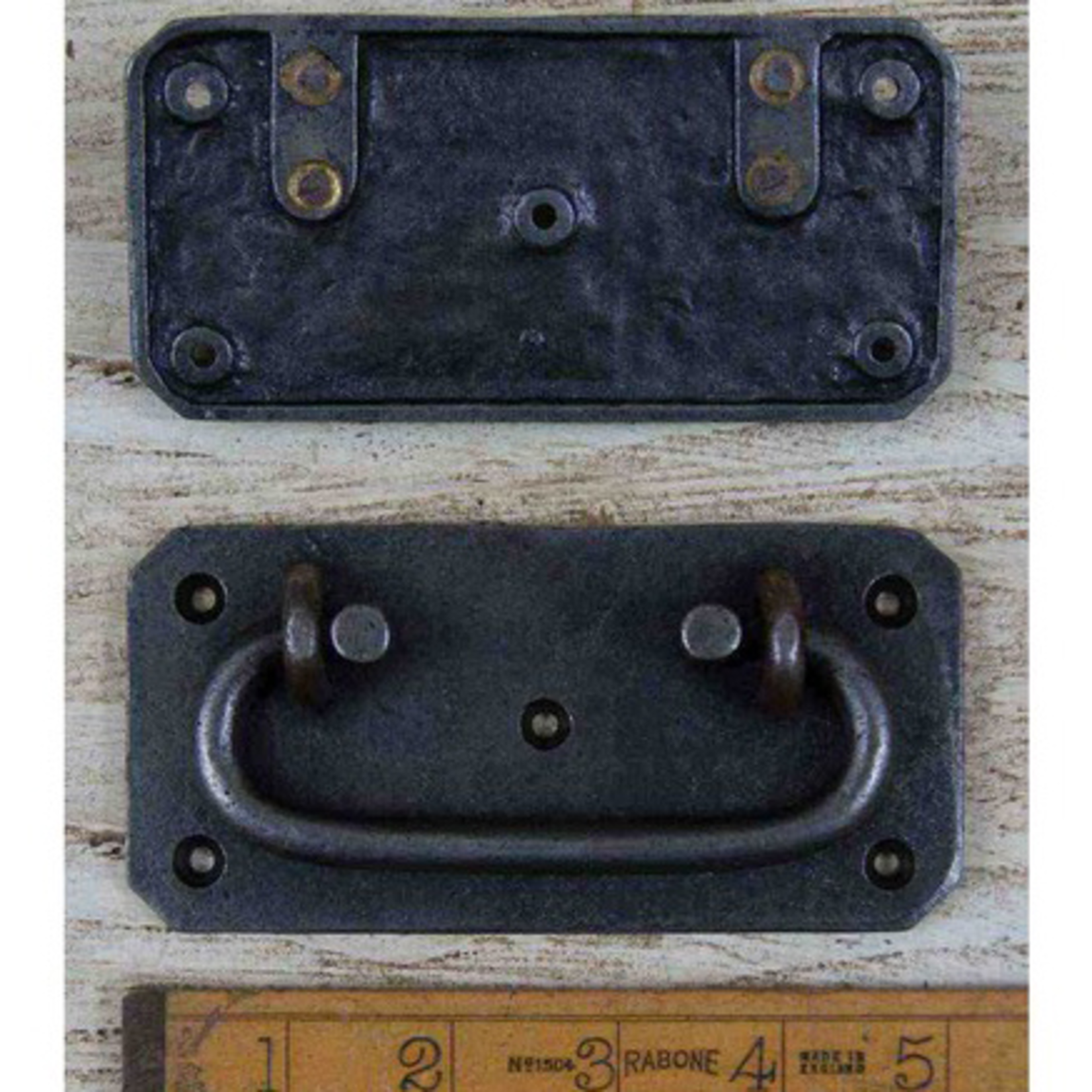 IRON RANGE Chest Lifting Handle Plate Heavy Cast Antique Iron 129mm x 64mm