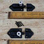IRON RANGE Cupboard Slide Bolt door LOCK Cast Antique Iron & Ceramic Knob
