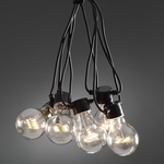 Konstsmide Lightset 20 clear bulbs LED Black Cable Mains Operated Fairy Lights Festoon outdoor or indoor