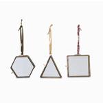 Nk Antique Brass Tiny Kiko Decorations - Set of 3 Approx 8 x 7.5 x 0.7cm