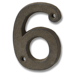 HILL INTERIORS Rustic Brown Cast Iron House Number '6'