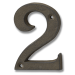 HILL INTERIORS Rustic Brown Cast Iron House Number '2'