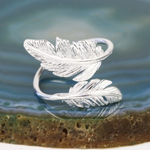 Lisa Angel Silver Double Feather Ring