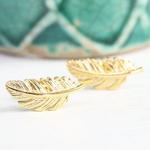 Lisa Angel Gold Feather Stud Earrings