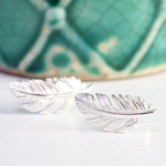 Lisa Angel Silver Feather Stud Earrings