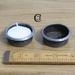 IRON RANGE Candle Holder Tea Light Pressed AI 16H x 40mm dia Rim 46mm