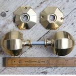 "IRON RANGE Octagonal Door handle Knob Large Brass 3 1/2 "" / 90mm DIA"