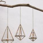 Nkuku Mokomo Hanging Lantern - Antique Brass - Medium 21.5 x 18 x 17cm