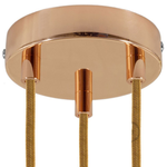 CCIT Copper 120 mm 3 hole ceiling rose kit with cylindrical copper plated cable retainer