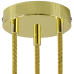 CCIT Brass 120 mm 3 hole ceiling rose kit with cylindrical brass plated cable retainer