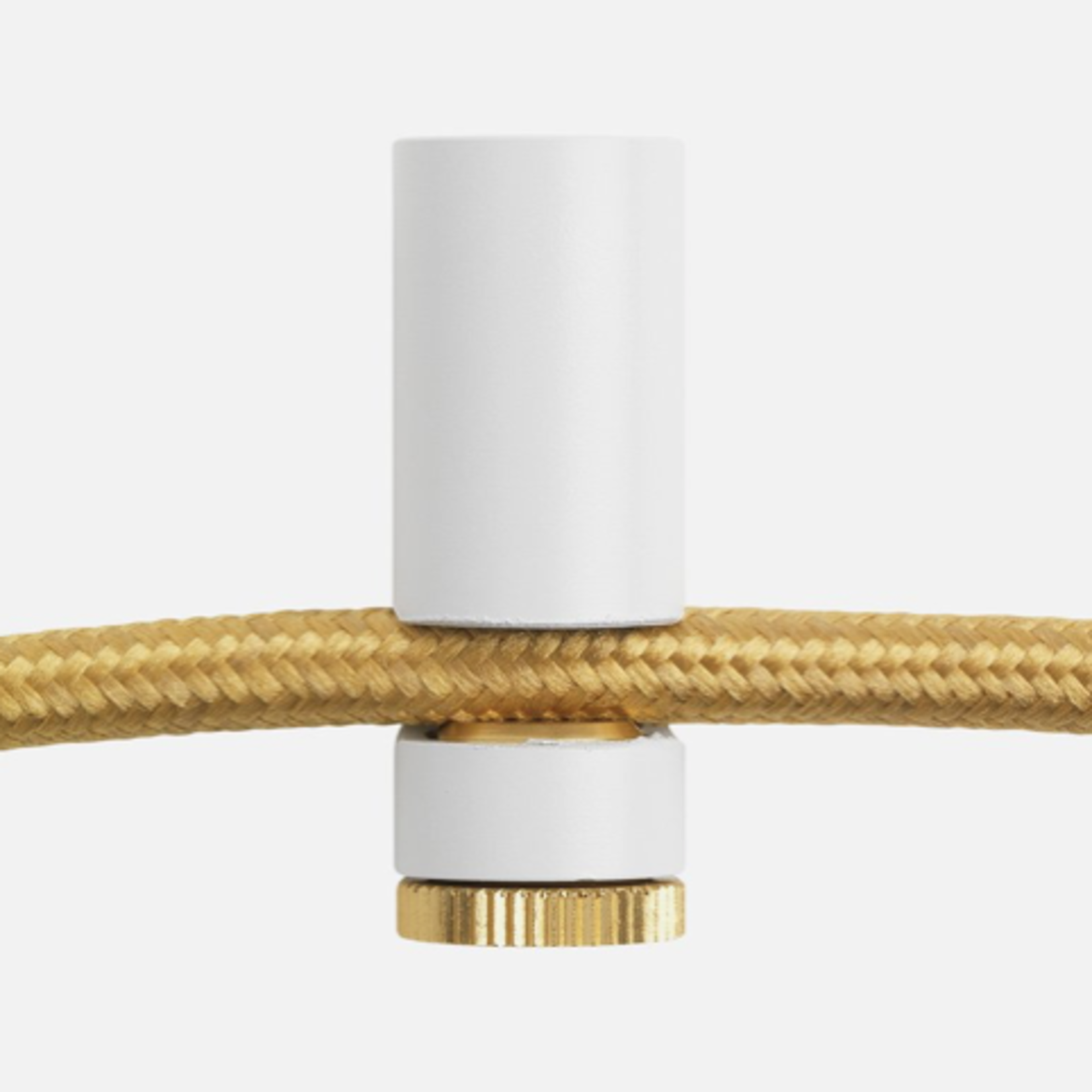 Plumen Cable Drop Ceiling Hook - White and Brass Cable Grip with Ceiling Screw