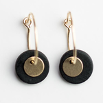 One & Eight Porcelain Double Disc Earrings - Grey Porcelain & Gold Discs on Gold Hoops